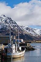 Fishing boat at harbour in small village of Vestresande, Lofoten Islands, Norway