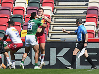 Rugby Union - 2020 / 2021 Gallagher Premiership - Round 17 - London Irish vs Harlequins - Brentford Community Stadium<br /> <br /> Harlequins' Andre Esterhuizen battles with London Irish's Curtis Rona, leading to his red card.<br /> <br /> COLORSPORT