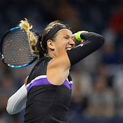 2019 US Open Tennis Tournament- Day Two. Victoria Azarenka of Belarus in action against Aryna Sabalenka of Belarus in the Women's Singles Round One match on Louis Armstrong Stadium at the 2019 US Open Tennis Tournament at the USTA Billie Jean King National Tennis Center on August 27th, 2019 in Flushing, Queens, New York City.  (Photo by Tim Clayton/Corbis via Getty Images)