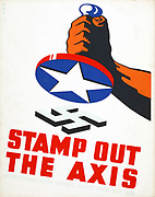 Stamp out the Axis 1941. Poster showing fist holding a stamp with an American star ready to stamp out Nazi Swastika during World War II.