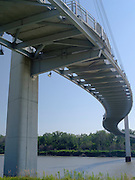 Underside view of the Bob Kerrey Bridge and Missouri River, looking east from Omaha, Nebraska towards Council Bluffs, Iowa.