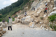 manual labour road construction near Duoyishu village, Yuanyang County, in Honghe Prefecture in southeastern Yunnan province, China,