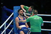 Afanasev Kirill of Ireland  during The Road to Tokyo European Olympic Boxing Qualification, Sunday, March 15, 2020, in London, United Kingdom. (Mitchell Gunn-ESPA-Images/Image of Sport)