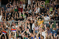 Supporters of Slovenia during friendly basketball match between National teams of Slovenia and Croatia, on June 18, 2021 in Arena Stozice, Ljubljana, Slovenia. Photo by Vid Ponikvar / Sportida