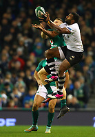 Rugby Union - 2017 Guinness Series (Autumn Internationals) - Ireland vs. Fiji<br /> <br /> Andrew Conway (Ireland) and Timoci Nagusa (Fiji) attempt to gather possession, at the Aviva Stadium.<br /> <br /> COLORSPORT/KEN SUTTON