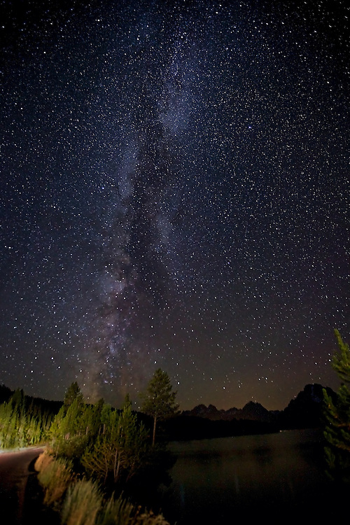 The milky way rises in the night sky above Jackson Lake in Grand Teton National Park. Headlights from a lone passing car temporarily illuminate the nearby trees.