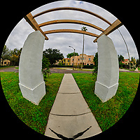 Andalusia Plaza in Granada Terrace. Historic Northeast St. Petersburg, Florida.  (Fisheye View). Composite of 21 images taken with a Fuji X-T3 camera and 8-16 mm lens (ISO 160, 8 mm, f/16, 1/60 sec). Raw images processed with Capture One Pro and AutoPano Giga Pro.