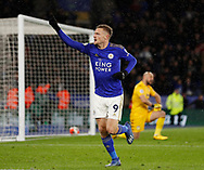 Jamie Vardy of Leicester City celebrates scoring their third goal his second during the Premier League match at the King Power Stadium, Leicester. Picture date: 9th March 2020. Picture credit should read: Darren Staples/Sportimage