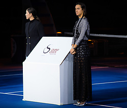 September 29, 2018 - Garbine Muguruza of Spain and Caroline Garcia of France during the opening ceremony of the 2018 China Open WTA Premier Mandatory tennis tournament (Credit Image: © AFP7 via ZUMA Wire)