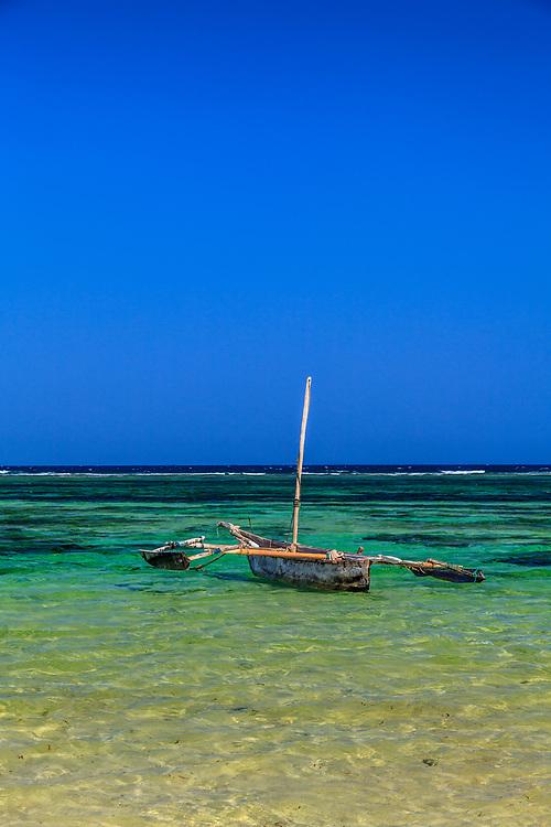 Trimaran style sailboat at Tiwi beach, Kenya.
