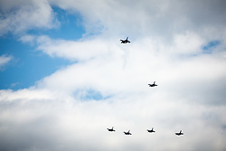 Flight for the end of epidemic with Pilatus PC-9 and F-16, Krila za Slovenijo, on June 1, 2020, Golnik, Slovenia. Photo by Matic Klansek Velej / Sportida