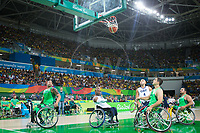 20160910 Copyright onEdition 2016©<br /> Free for editorial use image, please credit: onEdition<br /> <br /> Wheelchair Basketball player (Men) Ade Orogbemi from Liverpool, competing for ParalympicsGB at the Rio Paralympic Games 2016.<br />  <br /> ParalympicsGB is the name for the Great Britain and Northern Ireland Paralympic Team that competes at the summer and winter Paralympic Games. The Team is selected and managed by the British Paralympic Association, in conjunction with the national governing bodies, and is made up of the best sportsmen and women who compete in the 22 summer and 4 winter sports on the Paralympic Programme.<br /> <br /> For additional Images please visit: http://www.w-w-i.com/paralympicsgb_2016/<br /> <br /> For more information please contact the press office via press@paralympics.org.uk or on +44 (0) 7717 587 055<br /> <br /> If you require a higher resolution image or you have any other onEdition photographic enquiries, please contact onEdition on 0845 900 2 900 or email info@onEdition.com<br /> This image is copyright onEdition 2016©.<br /> <br /> This image has been supplied by onEdition and must be credited onEdition. The author is asserting his full Moral rights in relation to the publication of this image. Rights for onward transmission of any image or file is not granted or implied. Changing or deleting Copyright information is illegal as specified in the Copyright, Design and Patents Act 1988. If you are in any way unsure of your right to publish this image please contact onEdition on 0845 900 2 900 or email info@onEdition.com