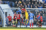 Barnsley Goalkeeper, Adam Davies (1) pushes clear a corner during the EFL Sky Bet League 1 match between Portsmouth and Barnsley at Fratton Park, Portsmouth, England on 23 February 2019.