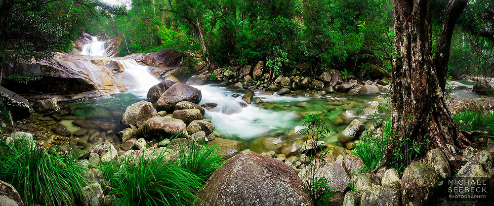 A panoramic photograph of Josephine Falls, captured in the wet season.<br /> <br /> Limited Edition Print; Edition of 125<br /> <br /> 'Image Size' below refers to the size of the thumbnail. This is a high quality large format print.