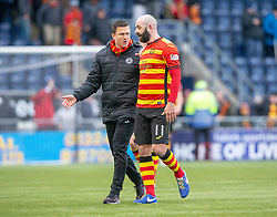 Partick Thistle's manager Gary Caldwell and Partick Thistle's Gary Harkins at the end. Falkirk 1 v 1 Partick Thistle, Scottish Championship game played 16/3/2019 at The Falkirk Stadium.