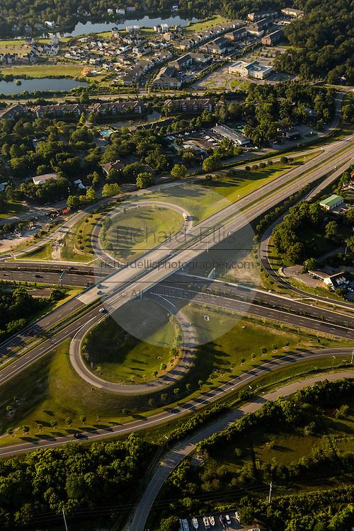 Aerial view of urbanization in Mt Pleasant, SC