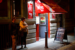 © Licensed to London News Pictures. 16/09/2014. Glasgow, UK. Yes voters and campaigners meeting at 'Yes bar' in Glasgow city centre on the night of Tuesday, 16 September, two days ahead of the Scottish independence referendum. Photo credit : Tolga Akmen/LNP