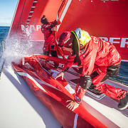 Leg 7 from Auckland to Itajai, day 04 on board MAPFRE, Antonio Cuervas-Mons and Sophie Ciszek during a pilling. 21 March, 2018.