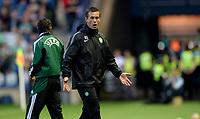 06/08/14 UEFA CHAMPIONS LEAGUE 3RD QUALIFYING RND 2ND LEG<br /> CELTIC v LEGIA WARSAW<br /> BT MURRAYFIELD STADIUM - EDINBURGH<br /> Ronny Deila can't bear to watch as his Celtic side fall further behind