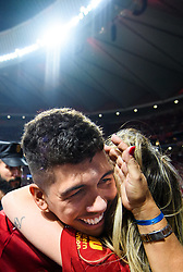 June 2, 2019 - Madrid, Spain - 190602 Roberto Firmino of Liverpool celebrating winning the UEFA Champions League final between Tottenham and Liverpool on June 2, 2019 in Madrid..Photo: Petter Arvidson / BILDBYRÃ…N / kod PA / 92302 (Credit Image: © Petter Arvidson/Bildbyran via ZUMA Press)