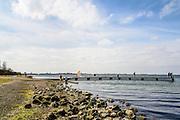 Nederland, Zeeland, Gemeente Schouwen-Duiveland, 26-03-2016;  Greveleingendam met Grevelingenmeer, recreatiegebied Noordplaten.<br /> <br /> copyright foto/photo Siebe Swart