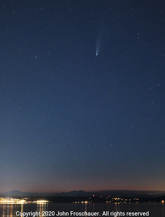 Neowise Comet seen in the sky over Commencement Bay, Monday, July 20, 2020, in Tacoma. (Photo/John Froschauer)