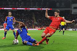 Ben Davis of Wales is challenged by Aaron Sanchez of Andorra - Mandatory byline: Dougie Allward/JMP - 07966 386802 - 13/10/2015 - FOOTBALL - Cardiff City Stadium - Cardiff, Wales - Wales v Andorra - European Qualifier 2016 - Group B