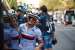 Jelena Eric (SRB) returns to the team bus at the 2020 Clasica Feminas De Navarra, a 122.9 km road race starting and finishing in Pamplona, Spain on July 24, 2020. Photo by Sean Robinson/velofocus.com