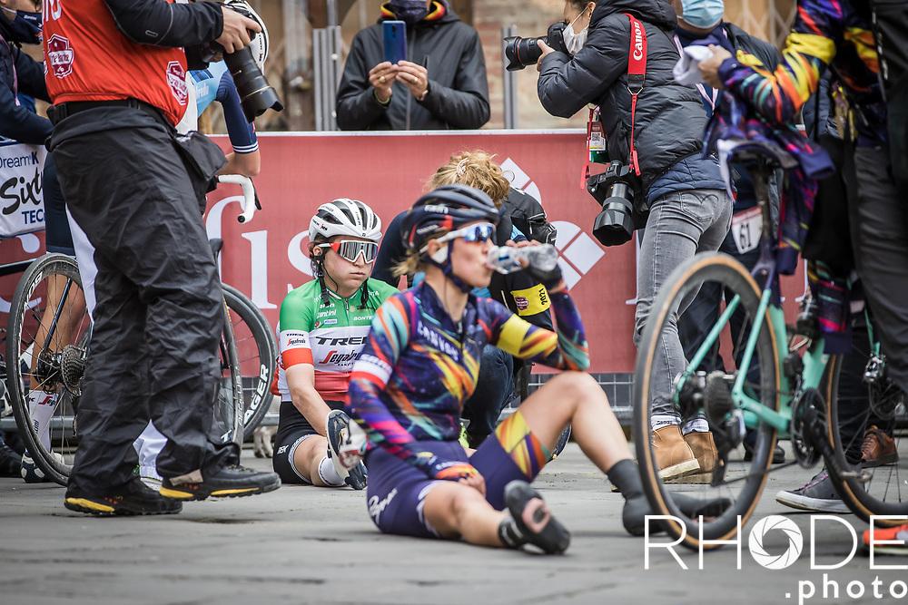 Italian National Champion Elisa Longo Borghini (ITA/Trek Segafredo) post race exhausted after finishing 2nd place<br /> <br /> 7th Strade Bianche Women Elite <br /> Siena > Siena 136km<br /> <br /> ©RhodePhoto