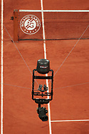 Spider cam illustration over the clay stadium Philippe Chatrier during the Roland Garros 2020, Grand Slam tennis tournament, on October 5, 2020 at Roland Garros stadium in Paris, France - Photo Stephane Allaman / ProSportsImages / DPPI