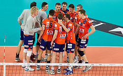 Players of ACH after the volleyball match between ACH Volley (SLO) and Jastrzebski Wegiel (POL) in 6th Round of 2011 CEV Champions League, on January 12, 2011 in Arena Stozice, Ljubljana, Slovenia. (Photo By Vid Ponikvar / Sportida.com)