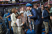 Comedian Stephen Colbert, host of Late Night invites House Minority Leader Nancy Pelosi and her grandchildren to pet his stuffed weasel dressed in costume during the filming of a skit on the floor of the Democratic National Convention July 24, 2016 in Philadelphia, Pennsylvania. Colbert appeared dressed as Caesar Flickerman from the Hunger Games and continues the act from last weeks Republican Convention.