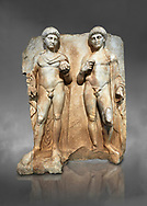 Roman Sebasteion relief  sculpture of  Two princes, Aphrodisias Museum, Aphrodisias, Turkey. Against a grey background.<br /> <br /> Two princes stand like statues, naked, wearing cloaks. The left figure holds the orb of the world in one hand, a symbol of  world rule that indicates he is the imperial heir, and in the other a ship's stern ornament (aphlaston), a symbol of naval victory. They and probably Gius and Lucius, the grandsons of Augustus, or Nero and Britanicus, Claudius' heir. .<br /> <br /> If you prefer to buy from our ALAMY STOCK LIBRARY page at https://www.alamy.com/portfolio/paul-williams-funkystock/greco-roman-sculptures.html . Type -    Aphrodisias     - into LOWER SEARCH WITHIN GALLERY box - Refine search by adding a subject, place, background colour, museum etc.<br /> <br /> Visit our ROMAN WORLD PHOTO COLLECTIONS for more photos to download or buy as wall art prints https://funkystock.photoshelter.com/gallery-collection/The-Romans-Art-Artefacts-Antiquities-Historic-Sites-Pictures-Images/C0000r2uLJJo9_s0