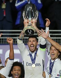 August 9, 2016 - Trondheim, Norway - Sergio Ramos lifts the trophy after the UEFA Super Cup match between Real Madrid and Sevilla at Lerkendal Stadion on August 9, 2016 in Trondheim, Norway. (Credit Image: © Raddad Jebarah/NurPhoto via ZUMA Press)