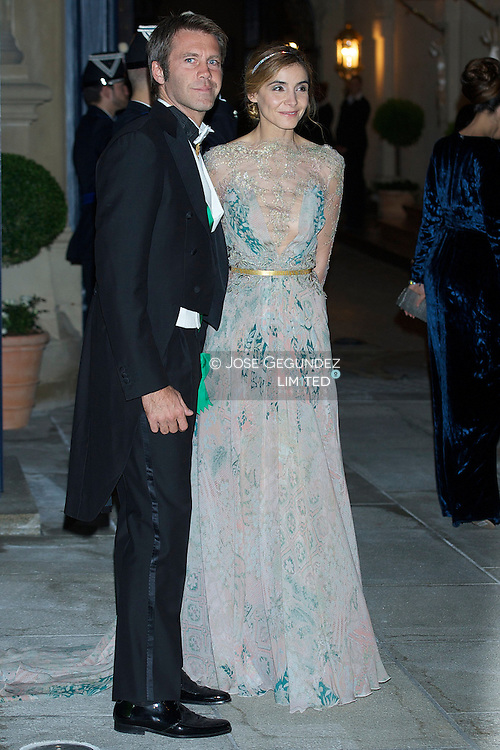 TRH Emanuele Filiberto, Prince of Venice and Piedmont and wife attend a Gala dinner for the wedding of HRH Guillaume the Hereditary Grand Duke and Countess Stephanie de Lannoy at Palais Grand-Ducal on October 19, 2012 in Luxembourg