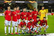 Manchester United line up ahead of the Europa League match between Club Brugge and Manchester United at Jan Breydel Stadion, Brugge, Belguim on 20 February 2020.