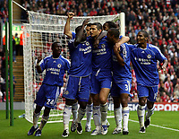 Photo: Paul Thomas.<br /> Liverpool v Chelsea. The FA Barclays Premiership. 19/08/2007.<br /> <br /> Frank Lampard and Chelsea celebrate his penalty.