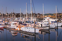 Yachts in the Squalicum Marina at dusk, Bellingham Bay Washington