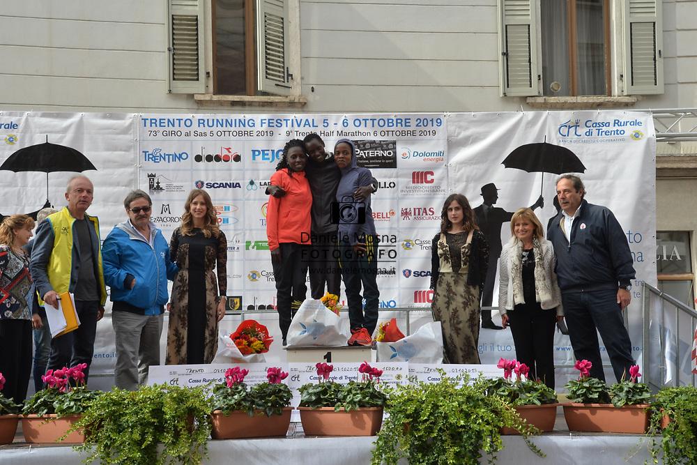 9ª Semi Maratona di Trento Half Marathon - 6 ottobre 2019 –  Corsa su strada internazionale -  06.10.2019, Trento, Trentino, Italia. Podium, vittoria per Mosisa e Rionoripo<br /> © Daniele Mosna WWW.DANIELEMOSNA.IT
