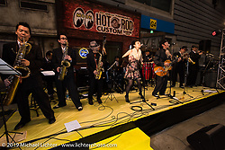 Saturday night Pre-Party for the Annual Mooneyes Yokohama Hot Rod and Custom Show. Japan. Saturday, December 6, 2014. Photograph ©2014 Michael Lichter.