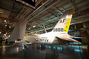 North American FJ-2/-3 Fury carrier fighter in the hangar of the Intrepid Sea, Air & Space Museum is a military and maritime history museum with a collection of museum ships in New York City.
