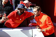 Jason McAteer (r) of Liverpool legends team has a selfie taken with a fan prior to kick off. Liverpool Legends  v Real Madrid Legends, Charity match for the LFC Foundation at the Anfield stadium in Liverpool, Merseyside on Saturday 25th March 2017.<br /> pic by Chris Stading, Andrew Orchard sports photography.