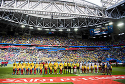 June 22, 2018 - Sankt Petersburg, Russia - 180622 The players of Brazil and Costa Rica ahead of the FIFA World Cup group stage match between Brazil and Costa Rica on June 22, 2018 in Sankt Petersburg..Photo: Petter Arvidson / BILDBYRÃ…N / kod PA / 92075 (Credit Image: © Petter Arvidson/Bildbyran via ZUMA Press)