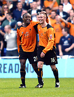 Photo. Chris Ratcliffe<br /> Reading v Wolverhampton Wanderers. Coca Cola Championship. 30/04/2005<br /> Rohan Ricketts of Wolves celebrates his winning goal with Kenny Miller