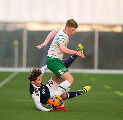 Scotland's Harry Cochrane and Repulic of Ireland's Kameron Ledwidge. half time : Scotland 0 v 0 Repulic of Ireland, Under 16 Victory Shield played at Oriam, Edinburgh.