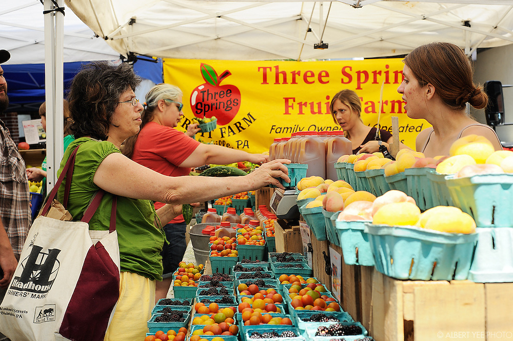 Headhouse Square Farmers Market<br /> <br /> August 11, 2013<br /> <br /> lady in green shirt release signed; man in green shirt is Three Springs employee