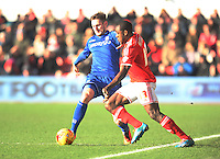 Birmingham City's Jonathan Grounds (L) and Nottingham Forest's Michail Antonio in action during todays match  <br /> <br /> Photographer Jack Phillips/CameraSport<br /> <br /> Football - The Football League Sky Bet Championship - Nottingham Forest v Birmingham City - Saturday 28th December - The City Ground - Nottingham<br /> <br /> © CameraSport - 43 Linden Ave. Countesthorpe. Leicester. England. LE8 5PG - Tel: +44 (0) 116 277 4147 - admin@camerasport.com - www.camerasport.com