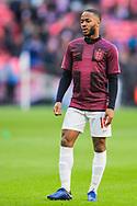 Raheem Sterling (England) warming up ahead of the UEFA Nations League match between England and Croatia at Wembley Stadium, London, England on 18 November 2018.