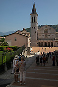 Exterior of Spoleto Cathedral in Spoleto, Umbria, Italy. Cattedrale di Santa Maria Assunta, or Duomo di Spoleto is the cathedral of the Archdiocese of Spoleto-Norcia created in 1821. The church is essentially an example of Romanesque architecture.