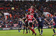 Oli McBurnie of Sheffield Utd dominates during the Premier League match at Bramall Lane, Sheffield. Picture date: 9th February 2020. Picture credit should read: Chloe Hudson/Sportimage